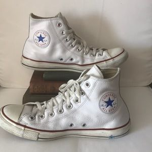 White leather high top converse men size 9 women11